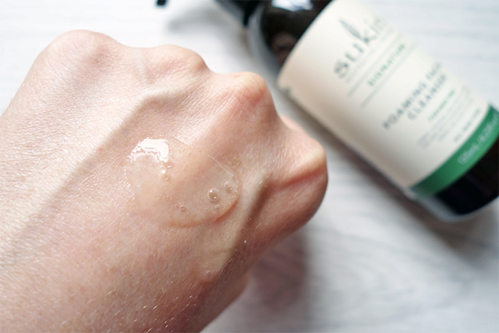 the texture of Sukin's foaming cleanser